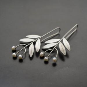Náušnice  listy s perlami