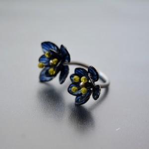 Prsten modrý kvítek